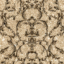 Baroque Scroll Gold Sparkle Textured Vinyl Wallpaper by Muriva 701345