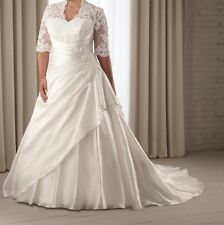Half Sleeve Lace Wedding Dress Bridal Gown Custom Plus Size 16 18 20 22 24 26++