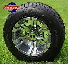 "GOLF CART 10"" GUNMETAL VAMPIRE WHEELS/RIMS and 205/50-10 DOT LOW PROFILE TIRES"