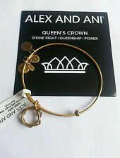Alex and Ani Queen's Crown Charm Bangle Bracelet NWT BOX Card Gold RETIRED Rare