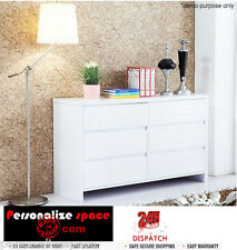 Modern Design White High Gloss Six Drawer Cabinet Metal Runners