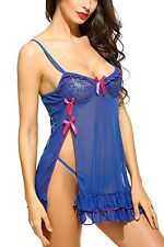 Women's Babydoll Lingerie Transparent Chemise/Thong Lace Sleepwear, X small UK 6