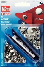 10 Anorak Druckknöpfe 15 mm silber Prym 390301 Druckknopf mit Werkzeug