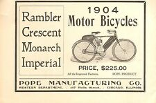 1904 POPE  MOTOR CYCLE  ORIGINAL VINTAGE  PART PAGE AD