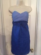 PHOEBE COUTURE BLUE Strapless Corset Top Dress Sz 12 POLYESTER
