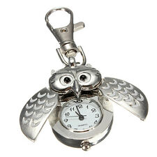 FASHION Alloy Owl Pocket Pendant Watch Key Chain Keyring Durable Portable Gift
