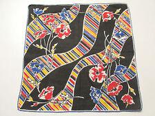 VINTAGE 1950s 60s MOD HANDKERCHIEF COTTON LINEN FLOWERS & MOD LINES