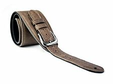 UK Made Brown Vintage Extra Wide Soft Real Leather Guitar Strap with Buckle