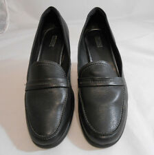 ECCO Black & Gray Slip On Loafers Block Heel Shoes  Womens Size 9.5 (41)