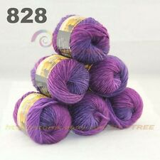 SALE LOT 6 Skeins x 50gr NEW Chunky Colorful Hand Knitting Scores Wool Yarn 828