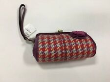 NWT Coach Handbag Clutch Purse. Wool Tweed & Suede. W Flower. Pink/purple/blue.