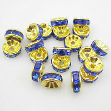 NEW Free shipping jewelry 20pcs 8MM Plated gold crystal spacer beads Blue ZS1
