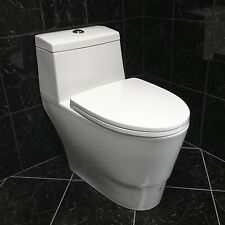 Soft-Close One Piece Modern White Ceramic Toilet LT3 with Dual Flushing System