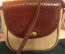 Vintage Brahmin Woven fabric and leather crossbody bag
