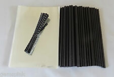 "50 x BLACK CAKE POP KIT 6"" LOLLY STICKS 4""x 6""(100x150mm)CELLO BAGS & POLKA TIES"