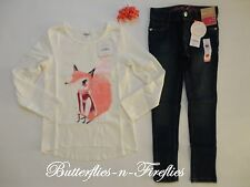 New NWT Gymboree 3pc Outfit Set Glitter FOX Top Skinny Jeans Bows Girls S 5