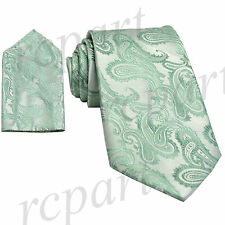 New Brand Q Men's Micro Fiber Paisley Neck Tie & Hankie Set mint green formal