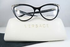 Versace MOD 3191 GB1 Shiny Black/Gold Stud New Authentic Eyeglasses 54mm w/Case