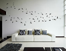 Flock of 60 Flying Birds Living Room Hallway Bedroom Kitchen Black Wall Stickers