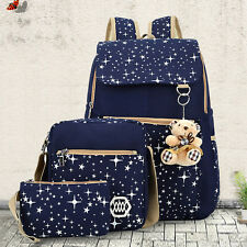 Women Girl Canvas Backpack+Handbag+Wallet Set Shoulder School Bag Travel Satchel