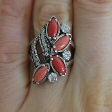 Coral Ring, Red Coral Ring, Hand Made Sterling Silver size S, cocktail 925