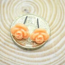 Orange Resin Rose Flower Alloy Post Stud Earrings Gift
