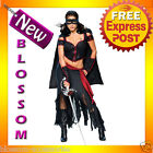 C719 Licensed Lady Zorro Mask Movie Spanish Hero Halloween Adult Costume