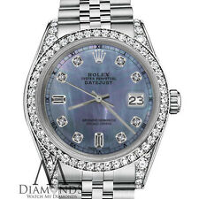 Ladies Rolex 31mm Datejust Tahitian Mother of Pearl 8+2 Diamond Dial RT Watch