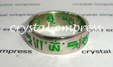 FENG SHUI - SIZE 8 GREEN SACRED MANTRA RING (STAINLESS STEEL)