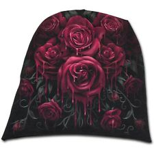 Spiral Blood Rose Light Cotton Beanie Black [Special Order] - Gothic,Goth,Roses