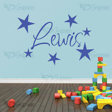 Personalised Name Stars Wall Art Boys or Girls Room Childrens Kids Sticker Vinyl