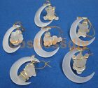6 Santa on Moon Frosted Christmas Tree Decorations with Gold Hanging Thread