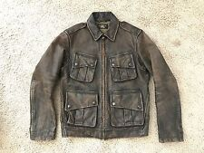 RARE NWOT RRL Double Ralph Lauren Military Leather Cowhide Jacket SMALL bomber
