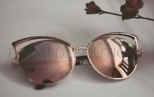 ROSE GOLD Pink MIRRORED CATEYE AVIATOR SUNGLASSES Celebrity BUTTERFLY  .32