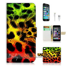 "iPhone 6 Plus (5.5"") Print Flip Wallet Case Cover! Leopard Leather Pattern P1437"