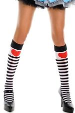 Music Legs Kawaii Cosplay Alice in Wonderland Stripy Heart Print Knee High Socks