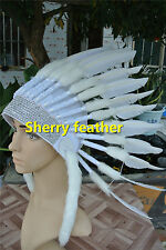 White indian feather headdress indian warbonnet american costume H16003
