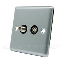 Brushed Satin Chrome Classical TV/ Sky Socket - Aerial Coaxial/ Satellite Socket