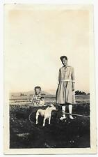 Vintage Old 1920's Photo Little Farm Girl in Wagon with Dog & Doll Older Sister