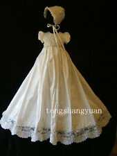 Baby Infant Girl Toddler Christening Baptism Dress Gown White Ivory +Bonnet
