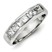 925 Sterling Silver Polished Princess Cut Channel Set CZ Ring Band Size 6