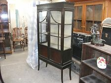 Tall Antique Glazed Display Cabinet Lock Key Shelved China Unit Bookcase Vintage