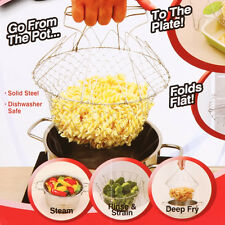 Chef Foldable Fry Frying Basket Strainer Washable Colander Kitchen Cooking Tools