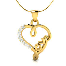 14k Solid Yellow Gold 0.09 ct 100% Certified Natural Diamond Heart Love Pendant
