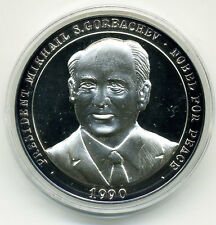 1990 GORBACHEV NOBEL PEACE PRIZE & REUNITED GERMANY OCTOBER 3 1990 Ag MEDAL