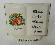 Vintage Caramic Desk Caddy - Bless This Messy Desk _ japan florida book pen