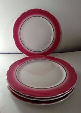 Set of 4 Vintage Pink & White Jackson Custom China Dinner Plates, Scalloped!