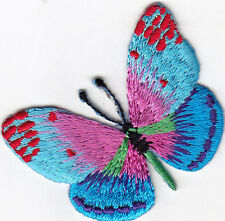 BUTTERFLY, BLUE SHADES w/PINK - BUTTERFLIES - IRON ON EMBROIDERED PATCH