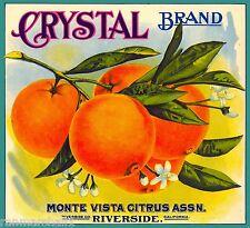 Riverside Crystal Orange Citrus Fruit Crate Label Vintage Art Print