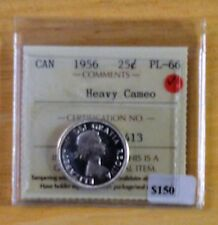 1956 Canadian 25 Cent -   PL -66    Heavy Cameo  - ICCS Graded